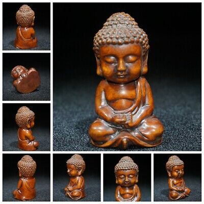 chinese antique wood carving Boxwood wooden sculpture artwork statue Tathagata