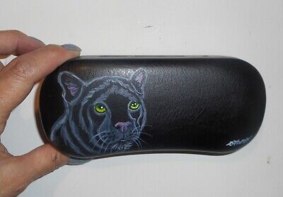 Black Panther Art Eyeglass Glasses Spectacles Case Hand Painted