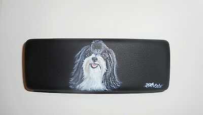 Havanese Dog Art Portrait Eyeglass Glasses Spectacles Case Hand Painted