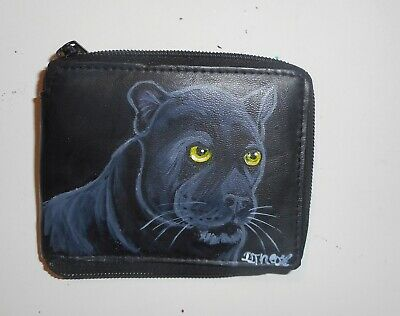 Black Panther Hand Painted Leather Wallet for Men Bifold