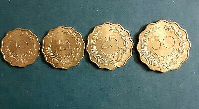 Paraguay 1950 Set Of 4 Coins 10+15+25+50 Centimos Uncirculated
