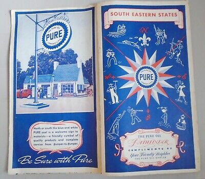 1930 Pure Oil Pathfinder Road Map Florida, Southeastern States Radio, Motor Laws