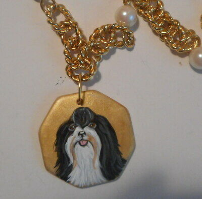 Havanese Dog Jewelry Statement Necklace Hand Painted Ceramic Pendant