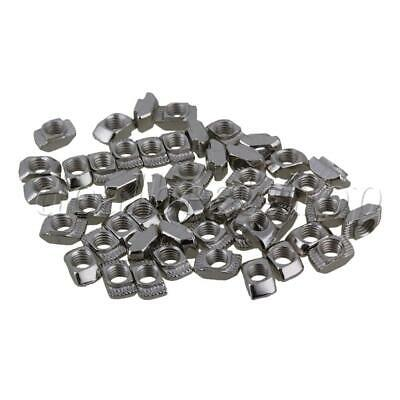 50pcs Hammer Head T Drop In Nut M5 for 20 Series European Aluminum Slot Silver