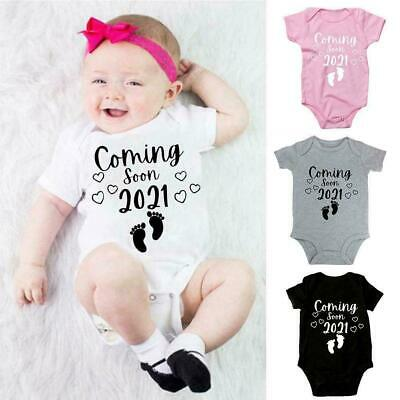 Grey L2C1 Coming Soon 2021 O-Neck Pregnancy Announcement One-Pieces White