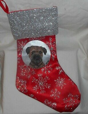Border Terrier Dog Hand Painted Christmas Gift Stocking Holiday Decoration