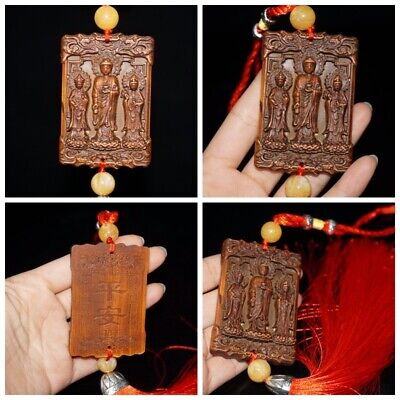china antique wood carving wooden sculpture God buddha statue pendant Amitabha