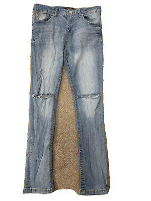 River Island Boy Distressed Super Skinny Ripped Jeans 12 Years Old Blue Denim