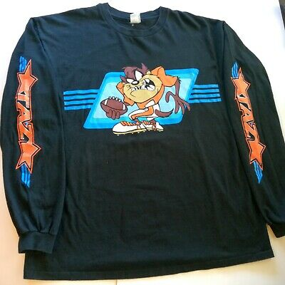 Tazmanian devil looney tunes vintage baseball jersey /'crossing the line  1996 warner brothers new with tags made in usa X-large