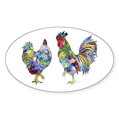 CafePress Rooster & Hen Oval Bumper Sticker, Euro Oval Car Decal (676675639)