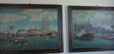 Pair of Signed and Dated Shipyard/Nautical Oil Paintings, Germany The Hansa