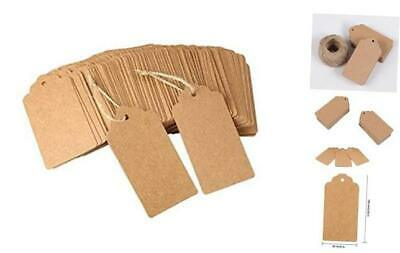 100 Pcs Brown Double-Sided Available Kraft Paper Gift Tags,with 10m Natural Jut