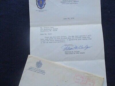 1979 William Bulger (Mass. Senator/Most wanted Brother Mob Boss) signed letter!
