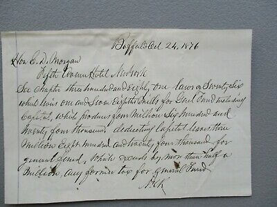 1876 letter to Edwin D. Morgan (Unknown signer?) Millions of dollars in content!