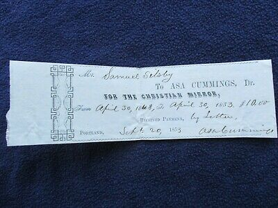 """1853 Rev Asa Cummings Portland,Maine,Signed """"Missionary Died at Sea"""" document"""