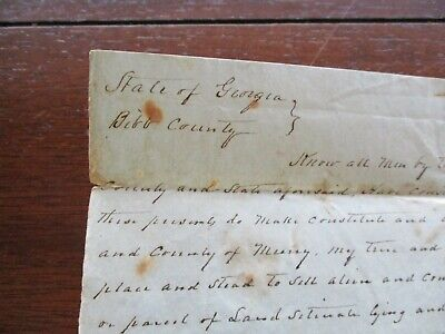 1848 War of 1812 PVT/Founder of Shaw,Georgia signed Scott Cray & H.M.Shaw,letter