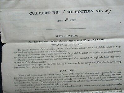 1836-37 Building of James River & Kanawha Canal/Cabell,Dillard signed Documents!