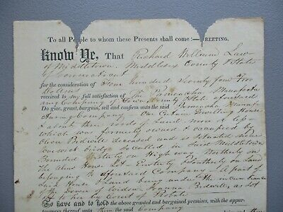 1821 Oliver Bidwell (1st Pistol Factory in the U.S. sold for $474.47) Conn.,deed