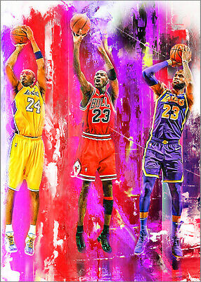 2021 Kobe Bryant Lakers Lebron James Michael Jordan 7/25 Art Print Card By:Q