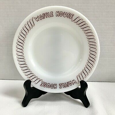 Original WAFFLE HOUSE Anchor Hocking Bread Butter Plates Milk Glass -5 Available