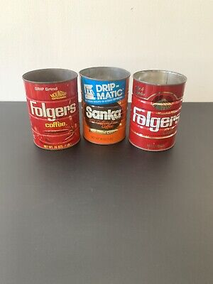 Vintage Folgers Coffee  Cans 13 Oz