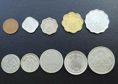 India 1-2-10-25-50 Paise & 0.25-1 Rupee 1954-1976 Lot 10 Different Coins