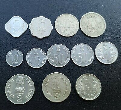 India 5-10-25-50 Paise & 1-2-5 Rupees 1985-2014 Lot 12 Coins