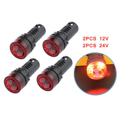 4PCS AD16-22SM 22mm 12V/24V LED Rosso Frecce Signal Flash Campanello Bip