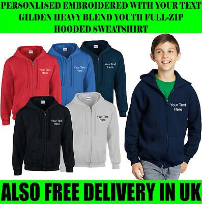 Personalised Embroidered Your Text/Plain Gilden Youth Full Zip Hoodie Sweatshirt