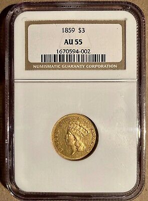 1859 $3 NGC AU55 Three Dollar Gold Piece
