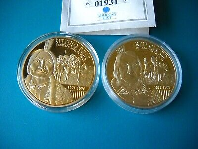 2 2013 Native American Chiefs Commemorative Coins Red Cloud & Sitting Bull/ Coa