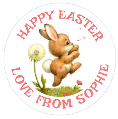 48 PERSONALISED EASTER STICKERS 40mm BUNNY