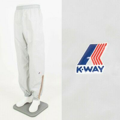 "Vintage K-Way Waterproof Trousers Light Grey Car Wash Sailing 30"" - 32"" Waist"