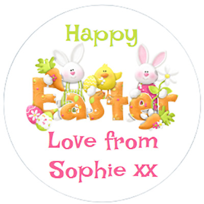 48 PERSONALISED EASTER STICKERS 40mm BUNNIES AND CHICKS