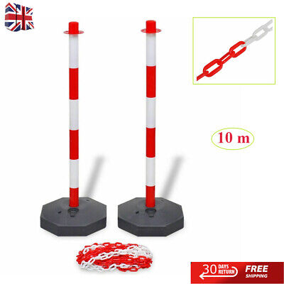 10 m Chain Post Set Plastic Warning Chain Security Bollards Safety Barrier Road