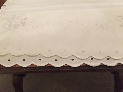 Vintage Bolster Case Pretty Embroidered Ends Fine Cotton