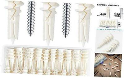 100 Pieces Self Drilling Drywall Kit, Reinforced Nylon Hollow Wall Anchors with