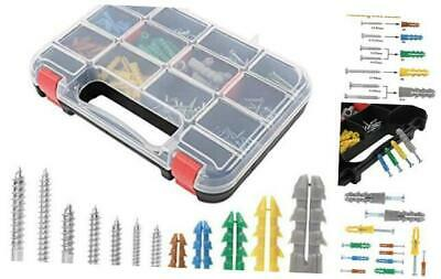 370pcs Plastic Drywall Wall Anchors Kit with Screws, Includes 5 Different Size