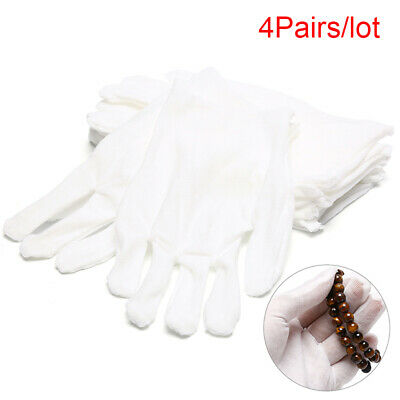 4Pairs White Gloves Cotton Soft Thin Coin Jewelry Silver Inspection Work Glo PG