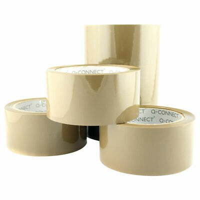 NEW! Q-Connect Low Noise Polypropylene Packaging Tape 50mmx66m Brown Pack of 6 K