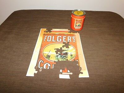 """Vintage 3 3/8"""" High Folger's Coffee Puzzle Tin Can *Missing Pieces*"""