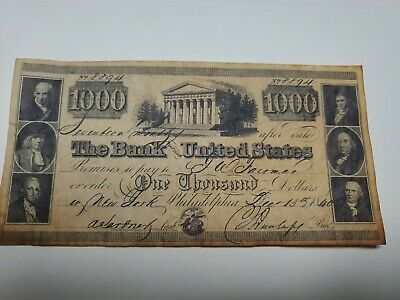 Bank of the United States 1840 $1000 Note Reproduction
