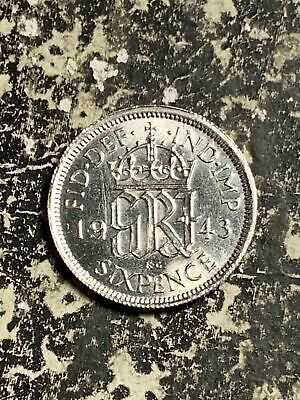 1943 Great Britain 6 Pence Sixpence Lot#Q4352 Silver! High Grade! Beautiful!