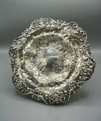 Gorham Sterling Silver Footed Bowl w Chased Flowers & Northwind Faces c.1900
