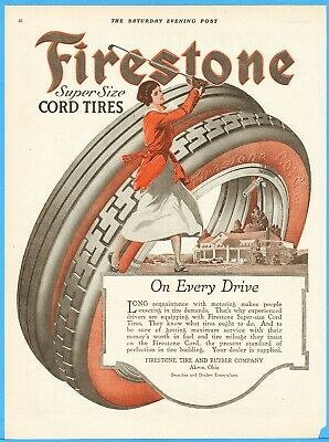 1917 Firestone Tire Akron OH Women Golfer Every Drive Golf Garage Wall Décor Ad