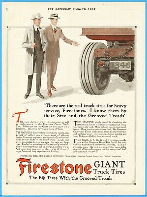 1917 Firestone Tire and Rubber Co Akron OH Giant Truck Tires Vintage Magazine Ad