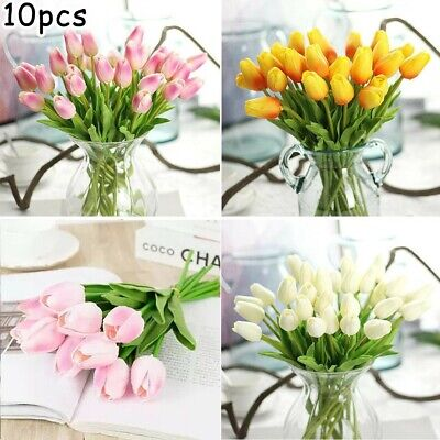 10Pcs/set Artificial Tulip Flowers Fake Bouquet Real Touch Wedding Party Decor