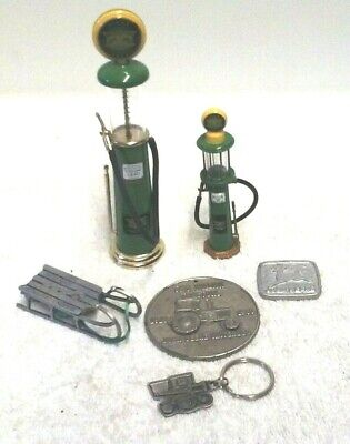 6 John Deere Collectible Lot 2 Visible Gas Pump Ornament Key Chain Medalions