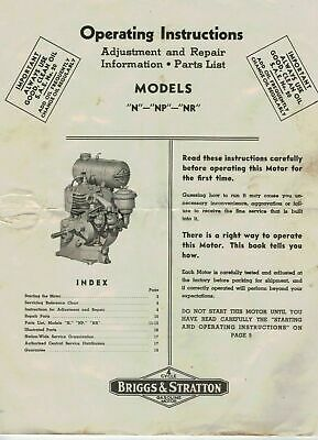 Briggs & Stratton  N NP NR Engine Operating Instructions & Parts List  5361F