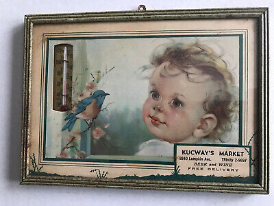 vintage advertising thermometer antique baby and bird print KUCWAY'S MARKET